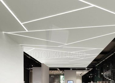 Матовый натяжной потолок с зигзагообразной подсветкой НП-1770