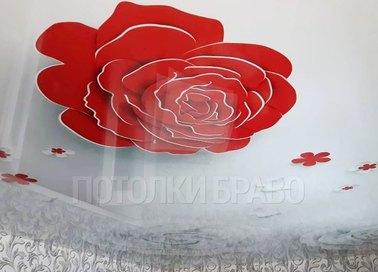 Глянцевый натяжной потолок с белыми розами НП-1782 - фото 5