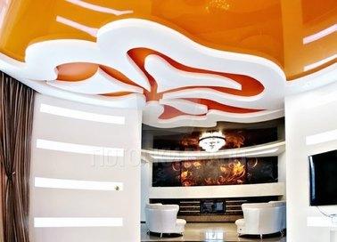Глянцевый оранжевый натяжной потолок НП-1788