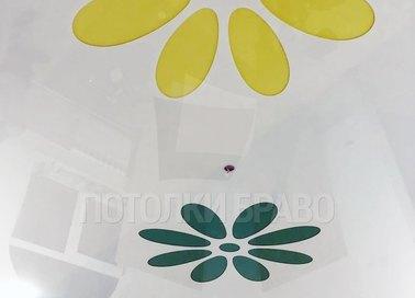 Глянцевый натяжной потолок с разноцветными цветами НП-1790