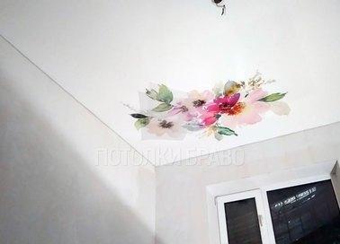 Матовый натяжной потолок с акварельными цветами НП-1796 - фото 2