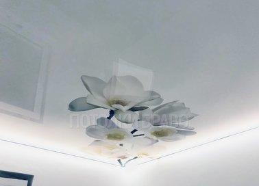 Глянцевый натяжной потолок с цветами НП-1801