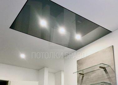 Черно-серый глянцевый натяжной потолок НП-1813
