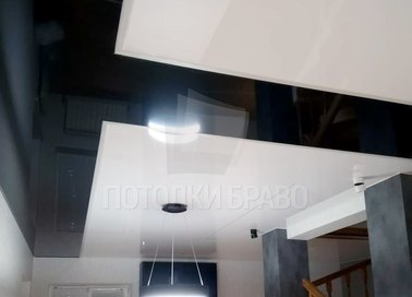 Сатиновый черно-белый натяжной потолок НП-1818