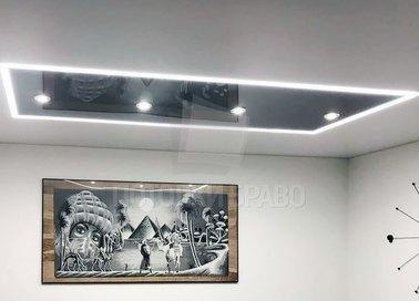 Матовый серый со светильниками черный натяжной потолок НП-1827