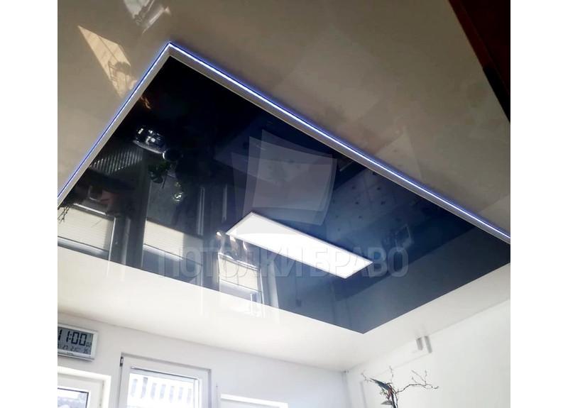Серый натяжной потолок с голубой подсветкой НП-1830 - фото 2