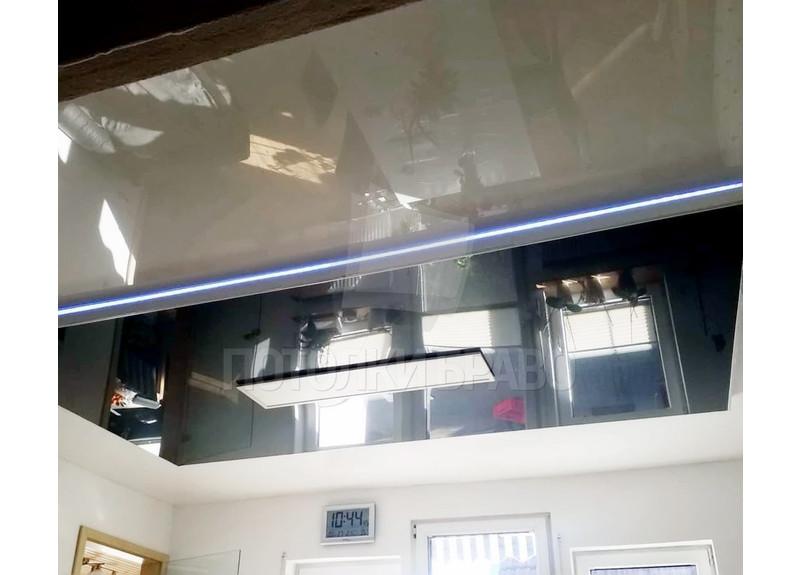 Серый натяжной потолок с голубой подсветкой НП-1830