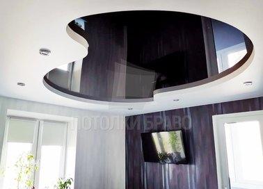 Сложный черно-белый натяжной потолок НП-1845 - фото 2