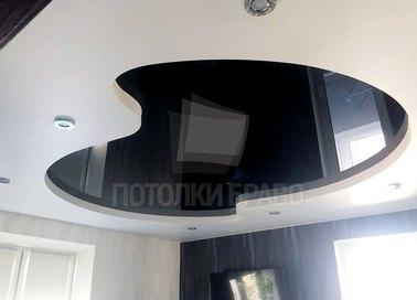 Сложный черно-белый натяжной потолок НП-1845