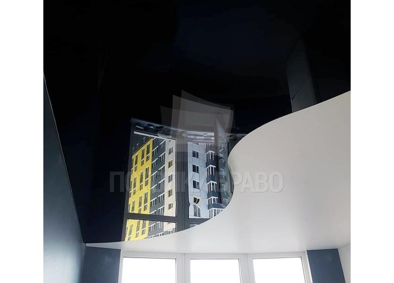 Волнообразный двухцветный натяжной потолок НП-1849