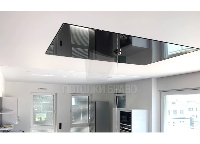 Черно-белый натяжной потолок для кухни НП-1853