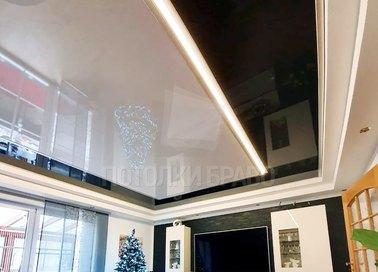 Черно-молочный глянцевый натяжной потолок НП-1857 - фото 3