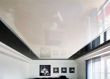 Черно-молочный глянцевый натяжной потолок НП-1857