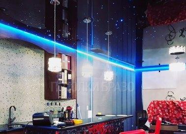 Темный натяжной потолок с голубой подсветкой НП-1869