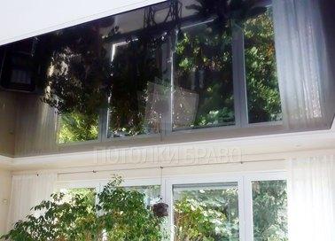 Черный зеркальный натяжной потолок для балкона НП-1871