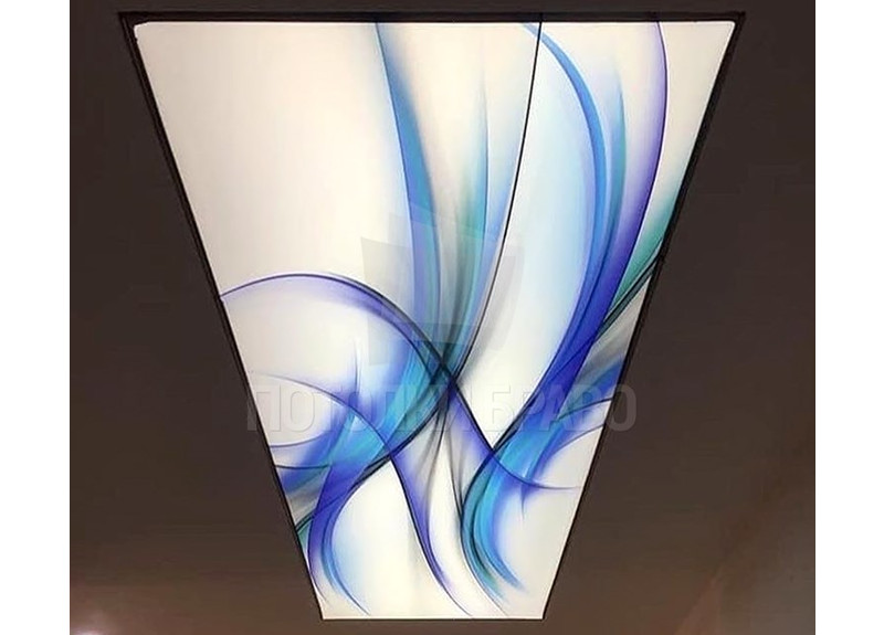 Сатиновый натяжной потолок с абстракцией НП-107