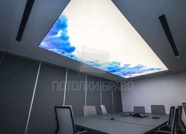 Необычный сатиновый натяжной потолок для офиса НП-109
