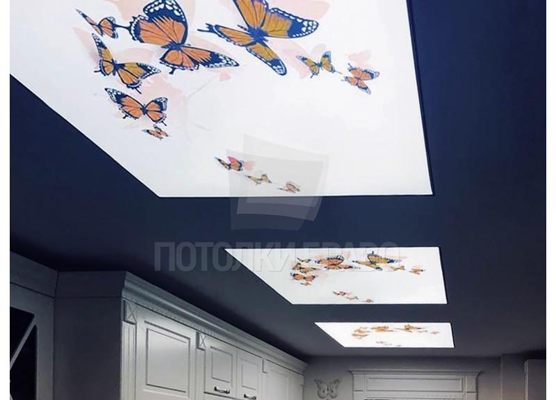 Синий матовый натяжной потолок с бабочками НП-114