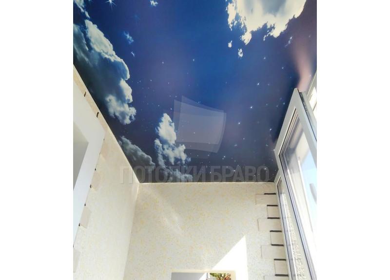 Сатиновый натяжной потолок с изображением неба для балкона НП-125 - фото 2