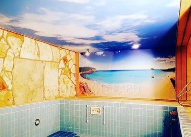 Матовый натяжной потолок с изображением для бассейна НП-138