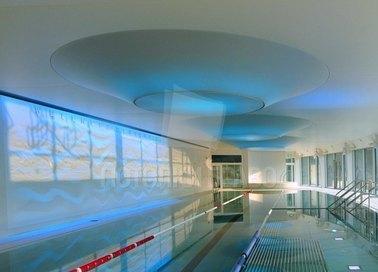 Матовый двухуровневый натяжной потолок для бассейна НП-139