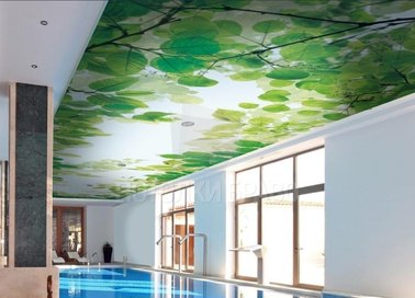 Сатиновый натяжной потолок с листьями в бассейн НП-146