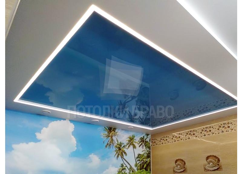 Синий глянцевый натяжной потолок для бассейна НП-159