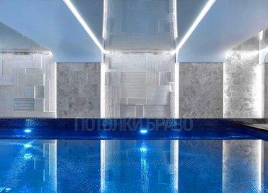 Сложный глянцевый натяжной потолок для бассейна НП-164