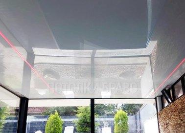 Глянцевый серебристый натяжной потолок с розовой подсветкой НП-172 - фото 4