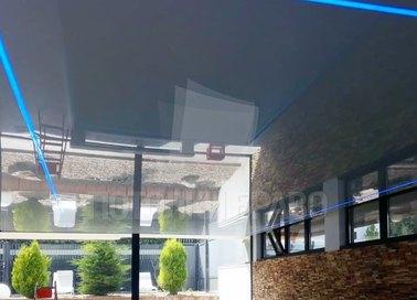 Глянцевый серебристый натяжной потолок с розовой подсветкой НП-172 - фото 5
